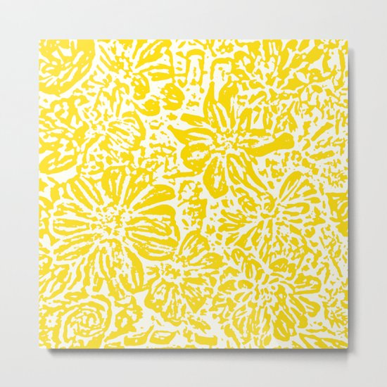 Marigold Lino Cut, Mustard Yellow Metal Print