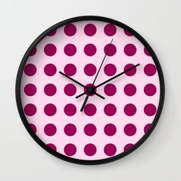 Happy Place Large Polka Dots in Pink Wall Clock