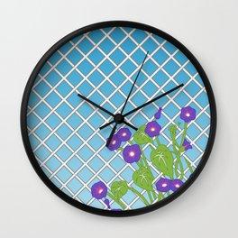 Morning Glory Pattern Blue Sky Wall Clock