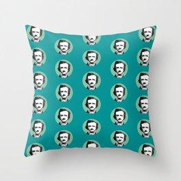 Edgar Allan Poe-ka Dots Teal Throw Pillow