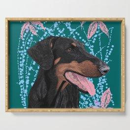 Happy doberman dog - Teal Serving Tray