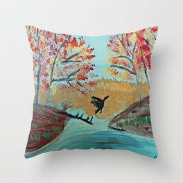 Autumn Duck Pond Throw Pillow