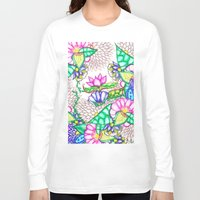 preppy Long Sleeve T-shirts featuring Bright modern botanical preppy floral watercolor by Girly Trend