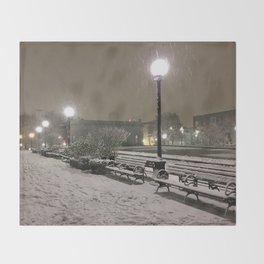 Romantic Seattle Snow At Night Throw Blanket