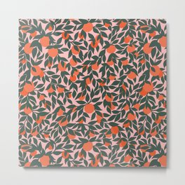 Oranges and Leaves Pattern - Pink Metal Print