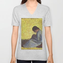 Georges Seurat - Peasant Woman Seated in the Grass Unisex V-Neck