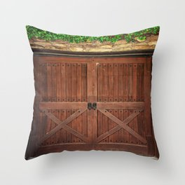 Door and Ivy Backdrop Throw Pillow
