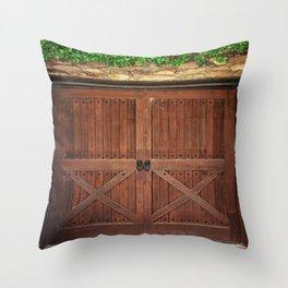 Door and Ivy Backdrop Throw Pillow