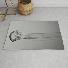 Black and White Jellyfish Art Photography, Drifting Through Time and Space Rug
