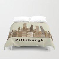 pittsburgh Duvet Covers featuring Pittsburgh skyline vintage by bri.buckley