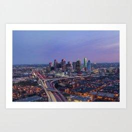 Dallas, TX Cityscape Art Print