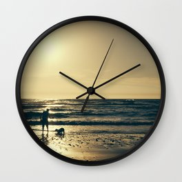 Sunset with the dog. Wall Clock