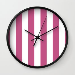 Large Bashful Pink and White Vertical Cabana Tent Stripes Wall Clock