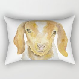 Nubian Goat Head Watercolor Rectangular Pillow