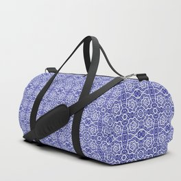 Helices, Blue ad White Arabesque Pattern Duffle Bag