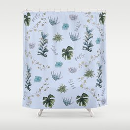 Indoor Plants Blue Shower Curtain