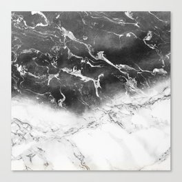 Modern black and white marble ombre watercolor color block Canvas Print