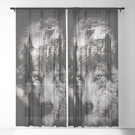 THE WOLF KING Sheer Curtain