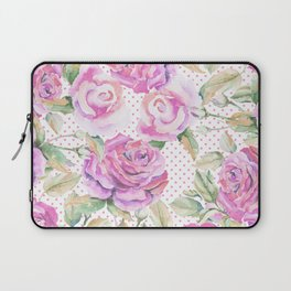 Watercolor hand painted pink lavender roses polka dots Laptop Sleeve