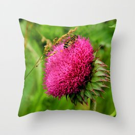 The thistle and a fly Throw Pillow