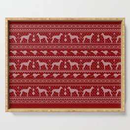 Ugly Christmas sweater | Greyhound / Whippet / Italian greyhound red Serving Tray