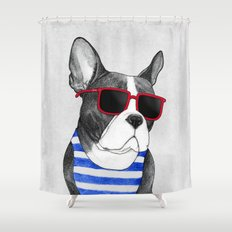 Frenchie Summer Style Shower Curtain