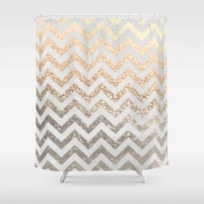 GOLD SILVER CHEVRON Shower Curtain