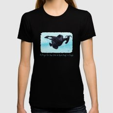 A Prayer for the Orca ~ Watercolor Womens Fitted Tee Black MEDIUM