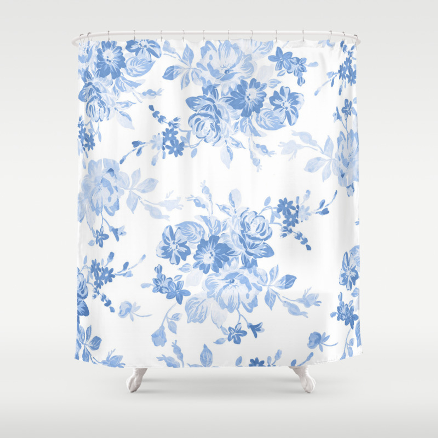 Modern Navy Blue White Watercolor Elegant Floral Shower Curtain By Pink Water Society6
