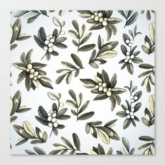 Pattern with mistletoe branches.  Watercolor Canvas Print