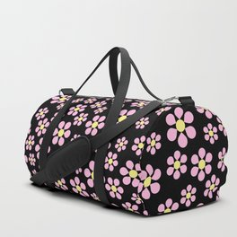 Dizzy Daisies - Pink on Black - more colors Duffle Bag