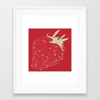 strawberry Framed Art Prints featuring Strawberry by Julia Kisselmann