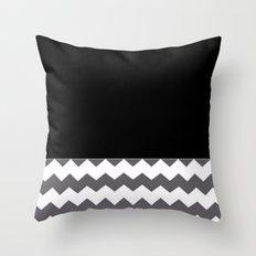 Chevron Gray Black And White - Glamour Throw Pillow