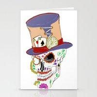 steam punk Stationery Cards featuring Steam Punk Sugar Skull by J&C Creations