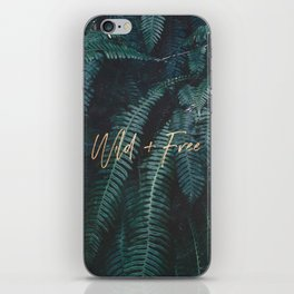 Wild And Free - Gold on Forest Ferns iPhone Skin