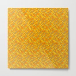 Stylish design with interlaced circles and yellow rectangles of stripes. Metal Print