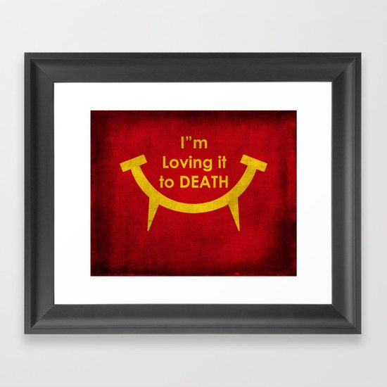 McViper the zombie and vampire fast food chain, Bloody good food is our motto! Framed Art Print