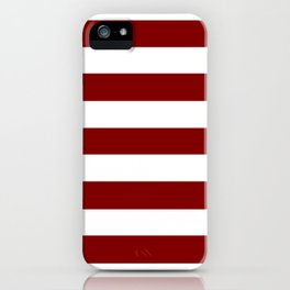 Maroon (HTML/CSS) - solid color - white stripes pattern iPhone Case