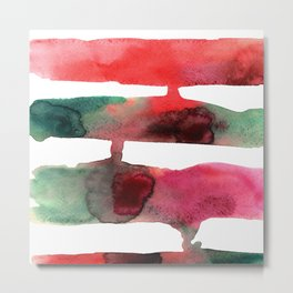 Watercolor hand drawn red and green strips of current paint. For a modern interior Metal Print