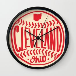 Hand Drawn Baseball for Cleveland Ohio with custom Lettering Wall Clock