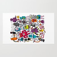 robots Area & Throw Rugs featuring Robots 2 by Chris Piascik