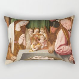 Nativity Painting - 16th Century Rectangular Pillow
