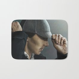 Sherlock and his deerstalker Bath Mat