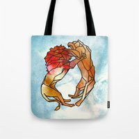 lions Tote Bags featuring Lions by madbiffymorghulis
