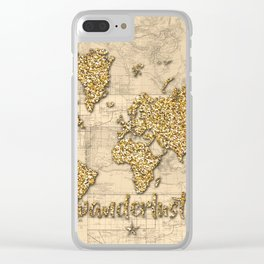 world map wanderlust gold Clear iPhone Case