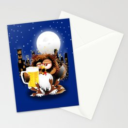 Drunk Owl with Beer Funny Character Stationery Cards