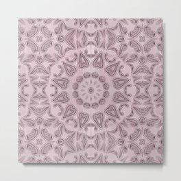 Pastel violet  Kaleidoscope Mandala Metal Print