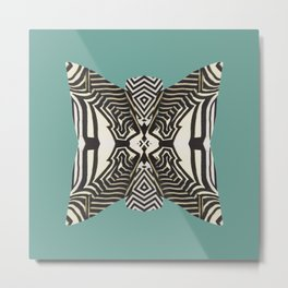 Animal Print Design on Turquoise Background Metal Print