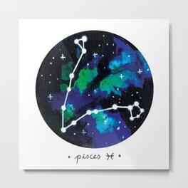 Pisces Constellation Watercolour Metal Print