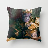 thanos Throw Pillows featuring Thanos: Infinity Gauntlet  by MATT DEMINO